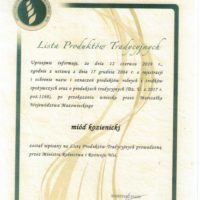 Miód Kozienicki wpisany na Listę Produktów Tradycyjnych Ministerstwa Rolnictwa i Rozwoju Wsi